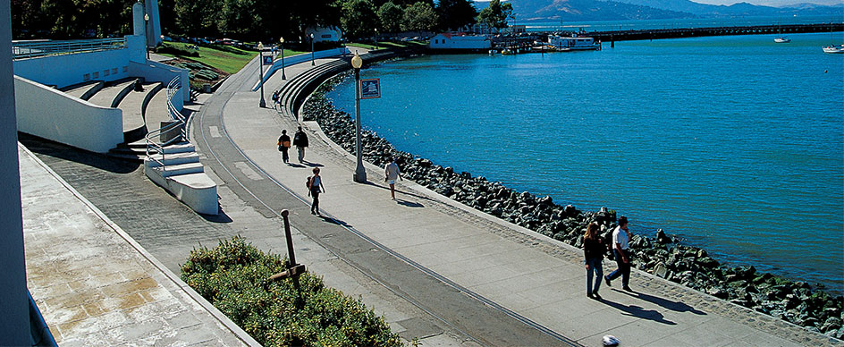 What can I see along the Embarcadero and Waterfront?